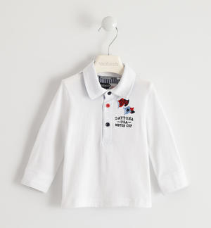 100% cotton polo shirt with denim patches WHITE