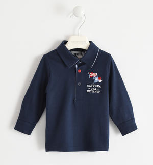 100% cotton polo shirt with denim patches BLUE