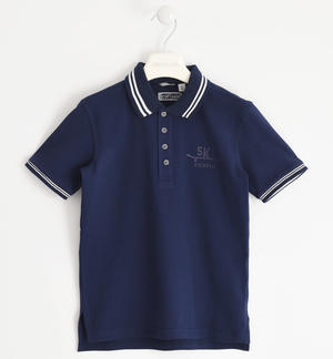 Polo 100% cotton rubberized print BLUE