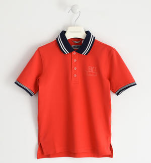 Polo 100% cotton rubberized print RED
