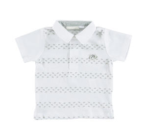 100% cotton short-sleeved polo shirt with horses WHITE