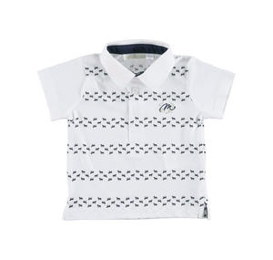 100% cotton short-sleeved polo shirt with horses BLUE
