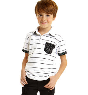 100% cotton short sleeved polo shirt with irregular stripes pattern WHITE