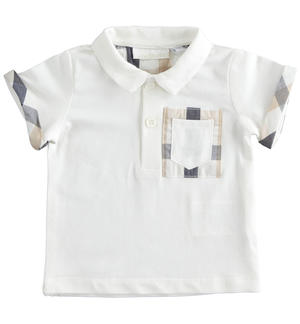 Newborn short-sleeved cotton Polo shirt with check details