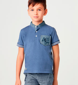 Boy's short-sleeved stretch cotton polo shirt with Mandarin collar BLUE