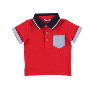 Short-sleeved polo shirt in 100% cotton pique RED