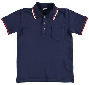 Short-sleeved polo shirt in cotton pique BLUE
