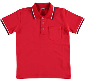 Short-sleeved polo shirt in cotton pique RED