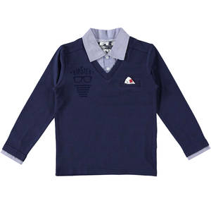 Long-sleeved polo shirt with fake shirt collar  BLUE