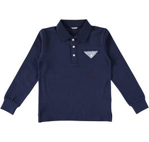 Long-sleeved polo shirt with pocket in Oxford fabric  BLUE