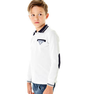 Long-sleeved polo shirt with pocket in Oxford fabric  CREAM