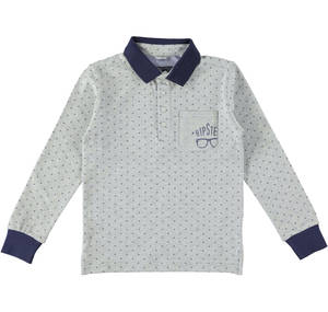 Hipster print long-sleeved polo shirt with contrasting undercollar  GREY