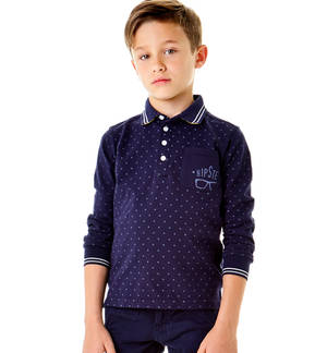 Hipster print long-sleeved polo shirt with contrasting undercollar  BLUE