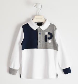 Long-sleeved polo shirt 100% cotton with colour blocks WHITE