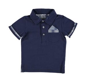 100% cotton summer polo shirt with checked handkerchief for boys BLUE