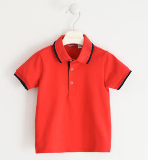 Solid colour cotton polo shirt RED