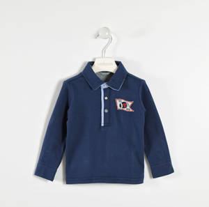 100% cotton interlock polo shirt with oxford collar  BLUE