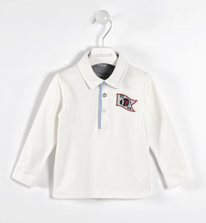 100% cotton interlock polo shirt with oxford collar  CREAM