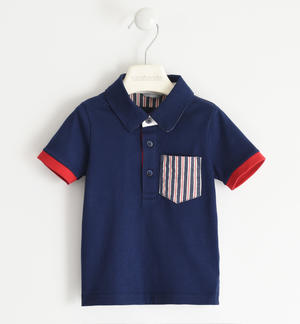 Polo shirt in 100% cotton jersey with striped pocket BLUE