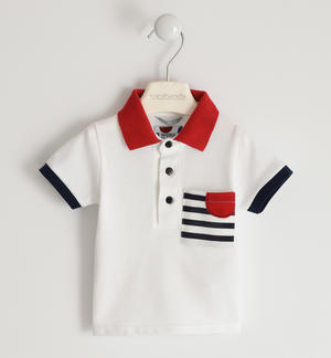 100% cotton pique polo shirt with pocket and striped collar WHITE