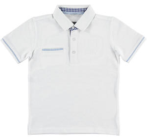 100% cotton pique polo shirt with welt pocket WHITE