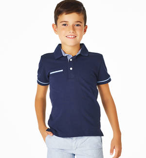 100% cotton pique polo shirt with welt pocket BLUE