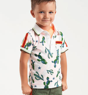 100% cotton pique polo shirt with cactus pattern WHITE