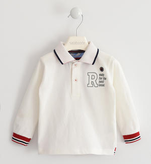 Polo shirt with striped ribbed cuffs CREAM