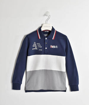 Polo in piquet stretch con bande BLU