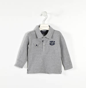 Stretch pique polo shirt with polka dot details GREY