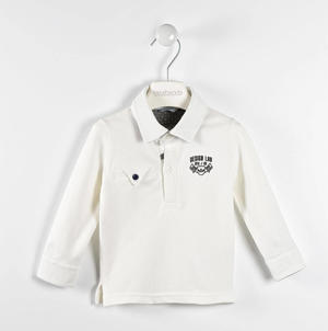 Stretch pique polo shirt with polka dot details CREAM