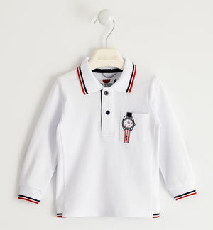 Polo shirt in stretch pique with patches