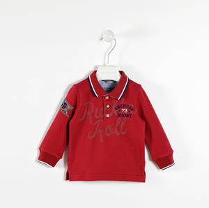 Rugby-style polo shirt with felt badge RED