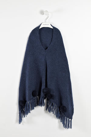 Poncho with pompoms  BLUE