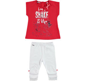 Practical and comfortable cotton outfit for girls RED