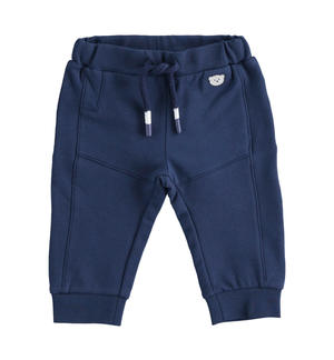 Practical brushed fleece trousers for newborn boy BLUE
