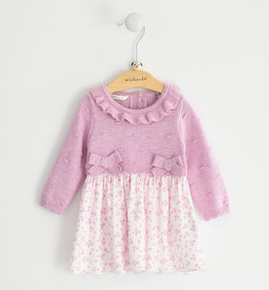 Refined mix fabric dress for newborn girl PINK
