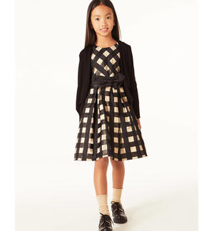 Refined vichy pattern dress  BLACK