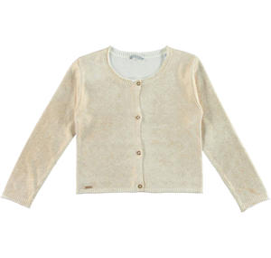 100% cotton refined cardigan with a laminated print CREAM