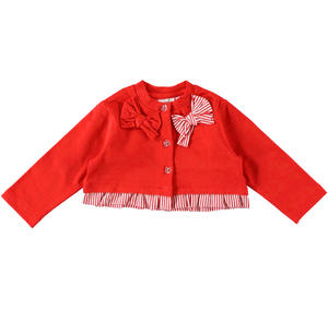 Refined cardigan Minibanda long sleeve in cotton fleece RED