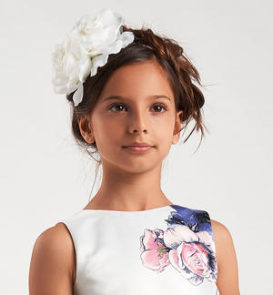 Refined little girl hairband with big flower CREAM