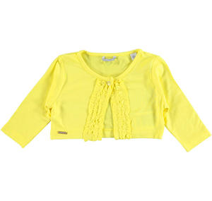 Raffinato coprispalla bambina in viscosa stretch con rouches GIALLO