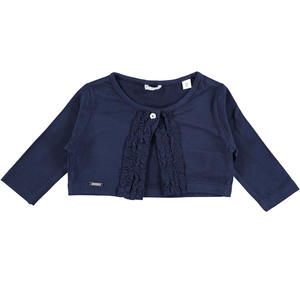 Raffinato coprispalla bambina in viscosa stretch con rouches BLU