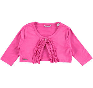 Raffinato coprispalla bambina in viscosa stretch con rouches ROSA