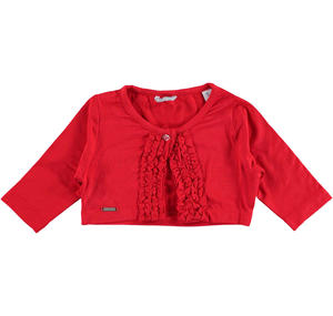 Refined stretch viscose bolero jacket with ruffles for girls RED