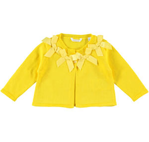 "Refined and comfortable baby girl cardigan 100% cotton with a ""necklace"" of bows YELLOW"