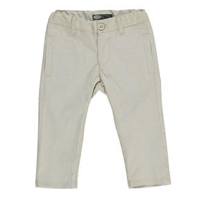 Refined open weave trousers in stretch cotton canvas for boys BEIGE