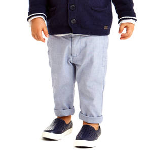 Refined open weave trousers in stretch cotton canvas for boys BLUE
