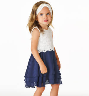 Sophisticated dress with floral lace bodice and frilly skirt BLUE