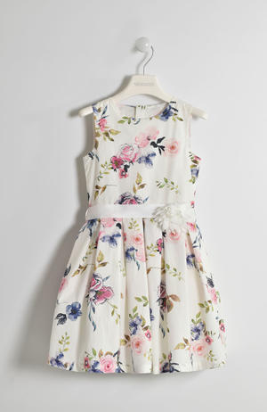 Elegant little dress for little girl with big roses finished with waist belt CREAM